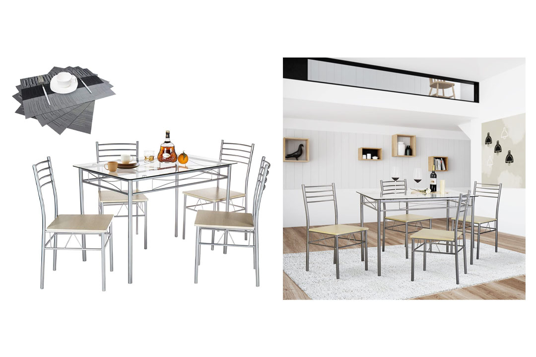 VECELO 5PC Dining Table with 4 Chairs Set