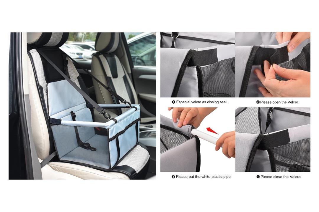 WOpet Deluxe Pet Dog Booster Seat for Car Zipper Storage Pocket