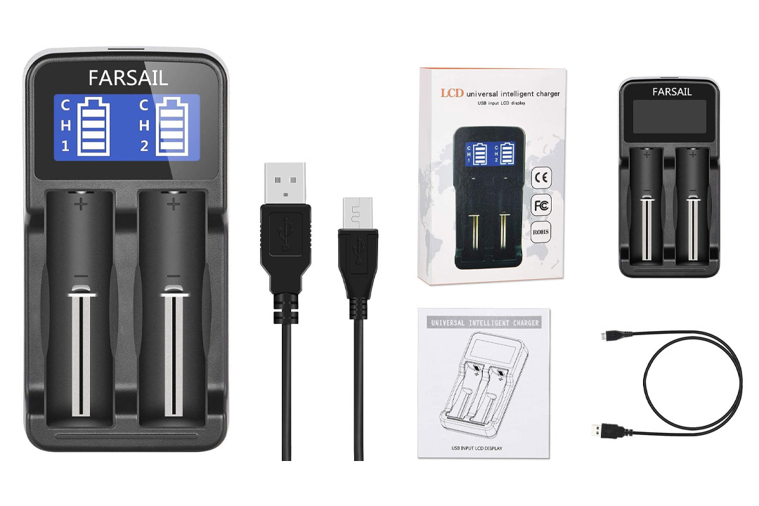 18650 Battery Charger, FARSAIL Rechargeable Battery Charger