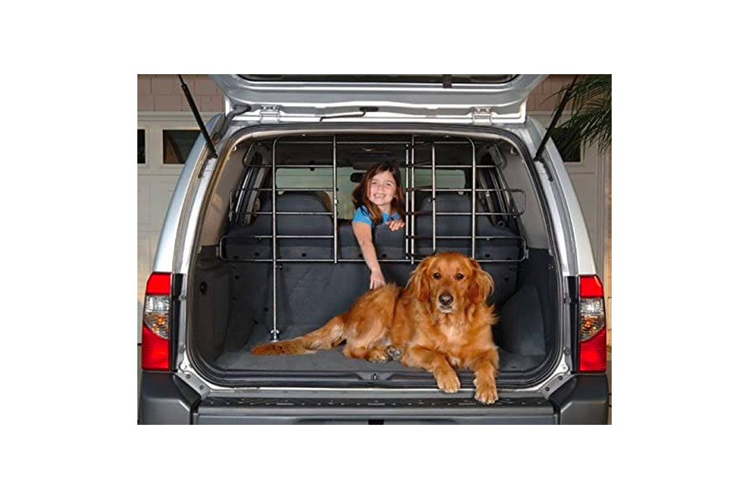 Adjustable Vehicle Pet Barrier Hammertone Gray Steel with Vehicle Dog Gate, Door Car Pet Barrier Auto Pet Barrier