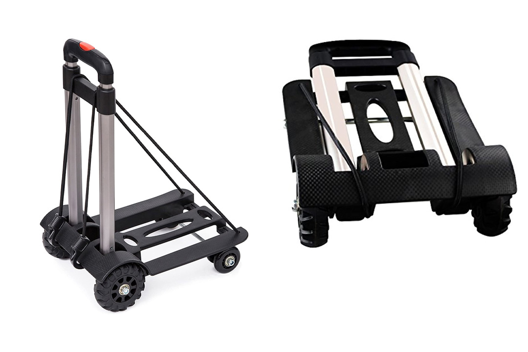 Anleolife Folding Carts With 4 Wheels Grocery Travel Dolly Back Saver Luggage Carts Car Seat Carrier