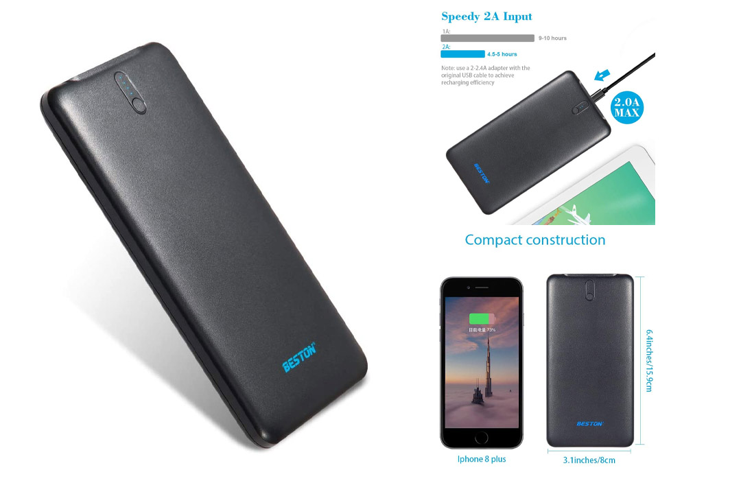 BESTON Portable Charger, Ultra Slim 10000mAh Power Bank