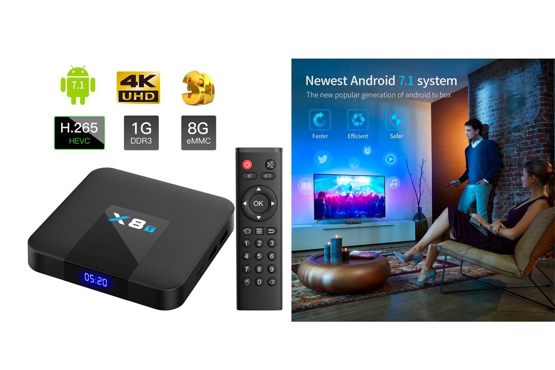 Bqeel 2021 X8T Android 7.1 4K Android Box 2.4G WIFI Quad-core Prozessor TV Box