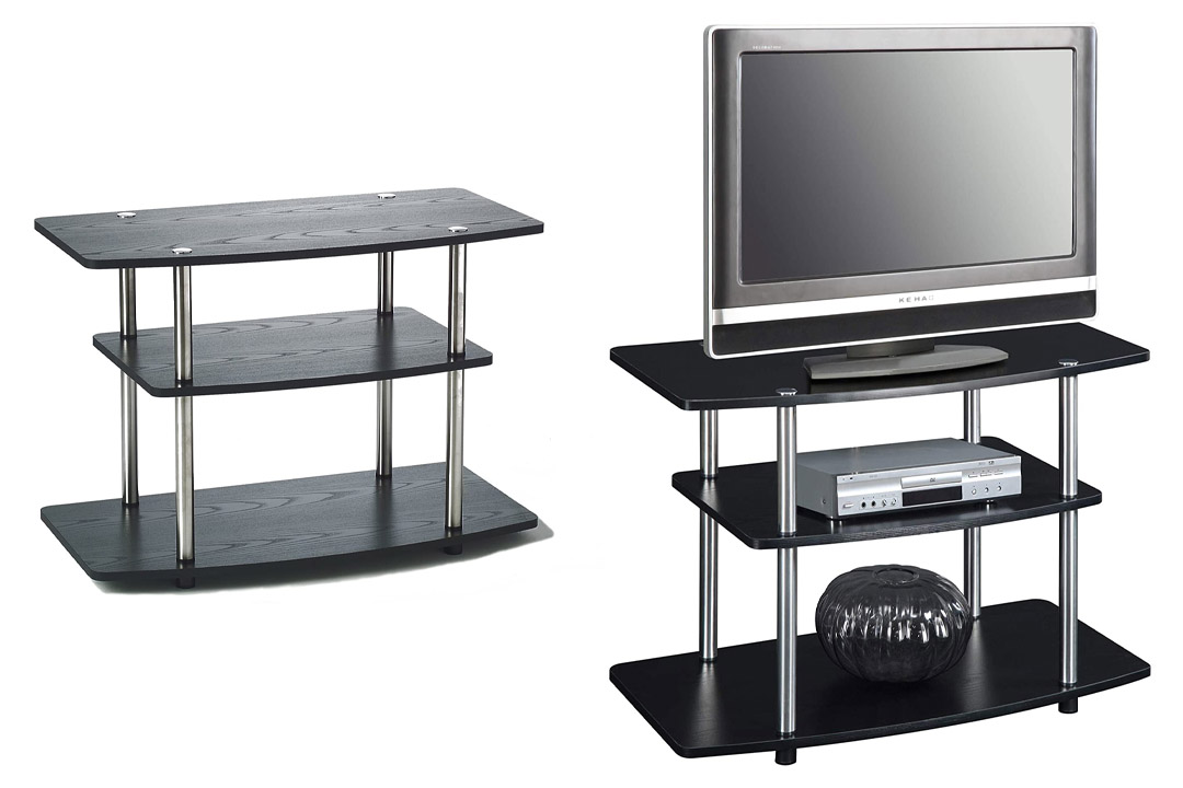Convenience Concepts 131020 3-Tier TV Stand for Flat Panel TV's up to 32-Inch or 80-Pound, Black