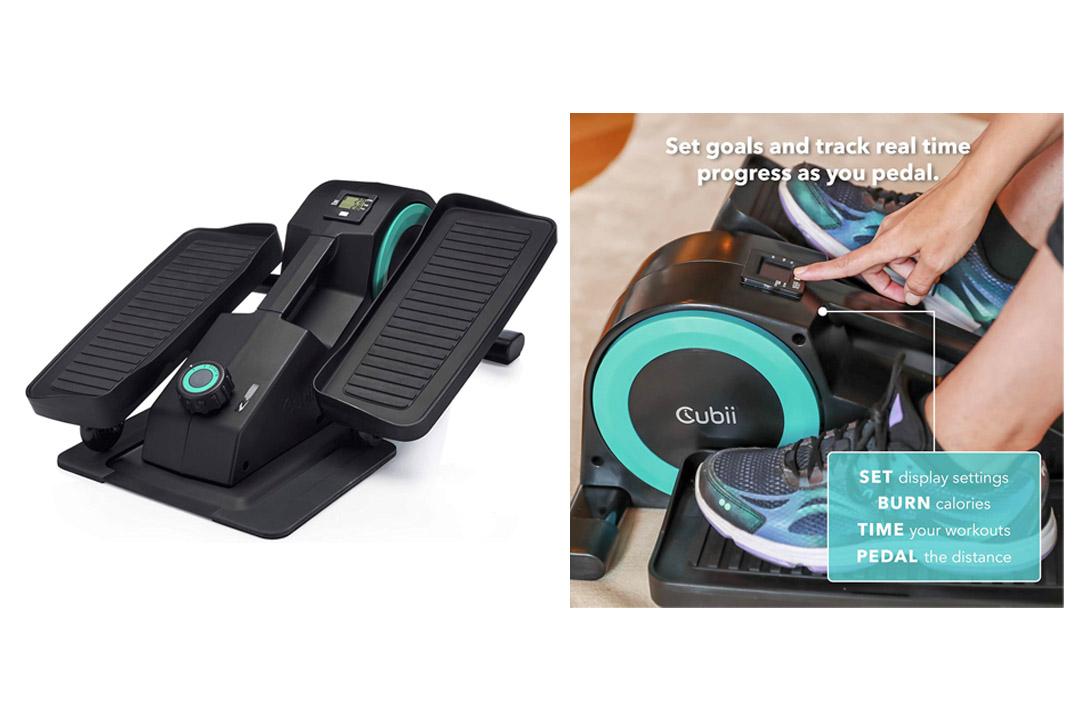 Cubii Jr: Desk Elliptical w/ Built In Display Monitor, Easy Assembly, Quiet & Compact, Adjustable Resistance (Aqua)