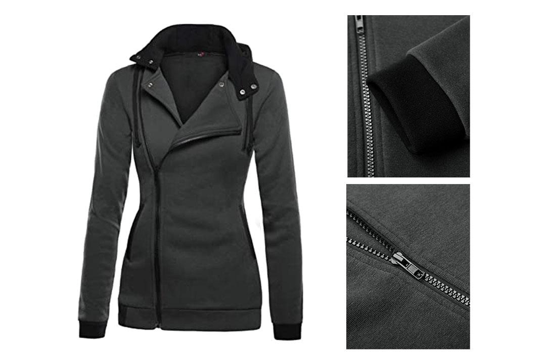 DJT Women's Oblique Zipper Slim Fit Hoodie Jacket