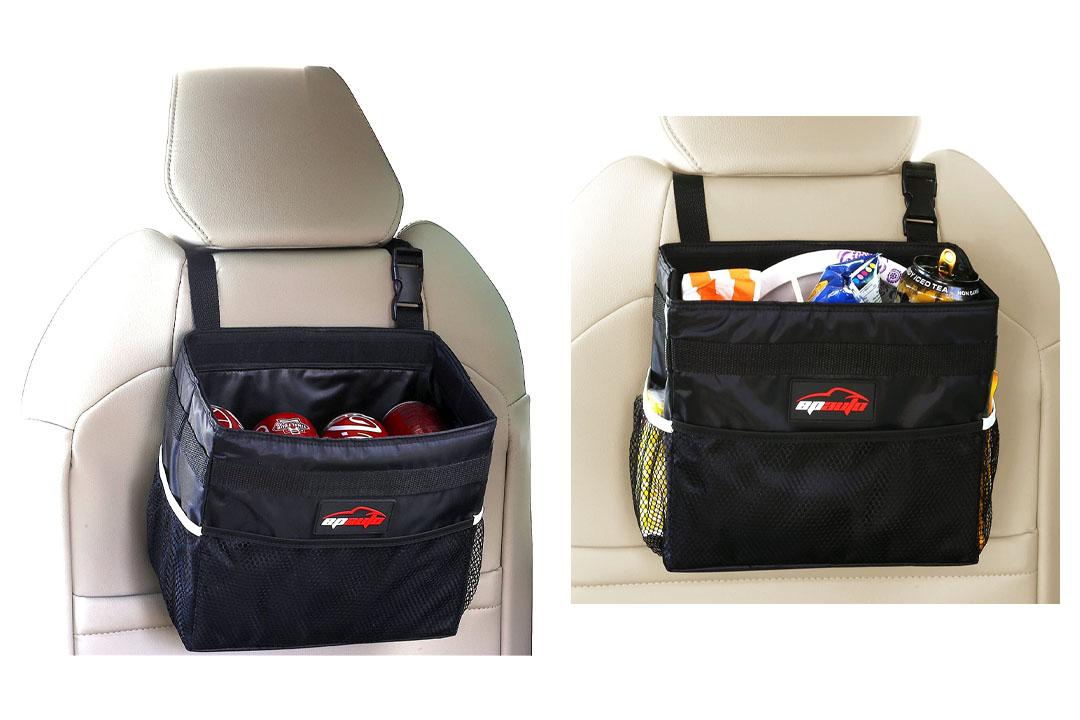 EPAuto Waterproof Car Trash Bin Leakproof Auto Litter Bag with Side Pocket
