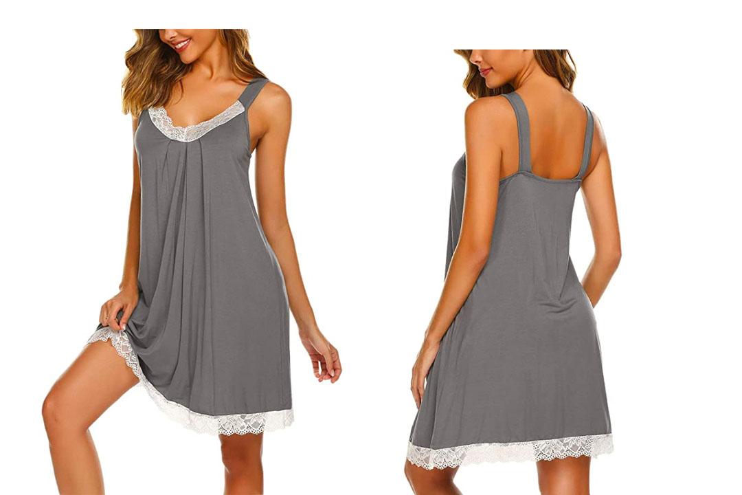 Ekouaer Womens Chemise Sleepwear Full Slips Lace Nightgown Cotton Jersey Lingerie