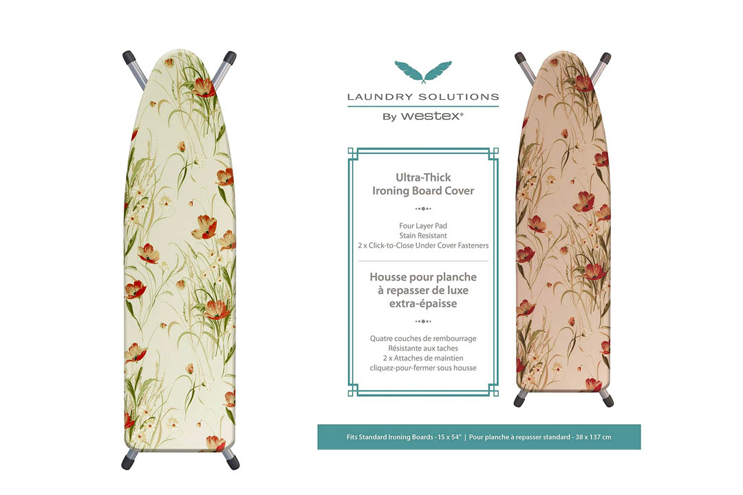 Laundry Solutions by Westex IBCAIE254POP 3-Layer Ironing Board Cover In Poppy Design