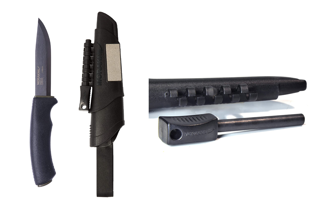 Morakniv Bushcraft Carbon Steel Survival Knife with Fire Starter and Sheath, Black