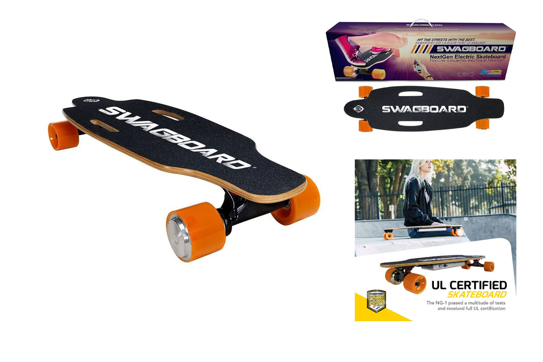 SWAGTRON Swag Board NG-1 Electric Longboard – UL 2272 Electric Skateboard with Wireless LED Remote