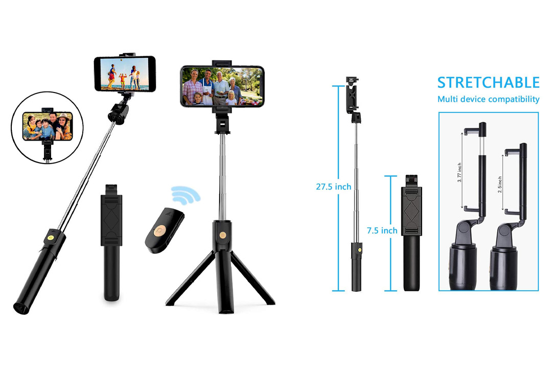 Selfie Stick Tripod, Extendable Bluetooth Selfie Stick with Wireless Remote