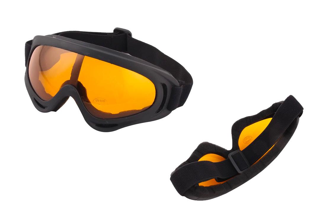 Snowboarding Black Frame Amber Color Uni Lens Goggles