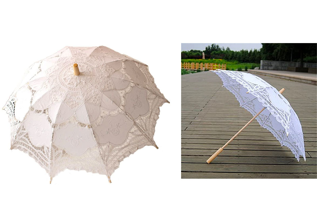StarSide White Wedding Lace Parasol Umbrella