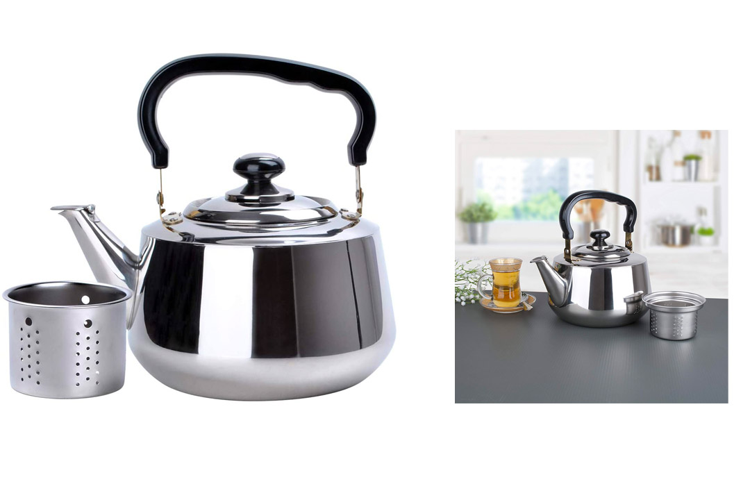 Tea Kettle-3 Liters Stovetop Kettle with Strainer, Heavy Gauge Stainless Steel Tea Pot