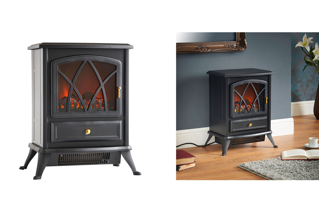 VonHaus Free Standing Electric Stove Heater Portable Home Fireplace with Log Burning Flame Effect
