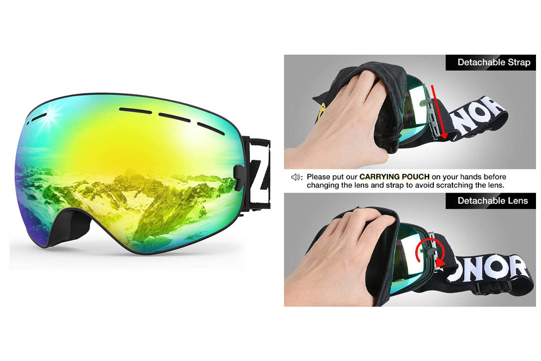 Zionor Ski Goggles with a Detachable Lens