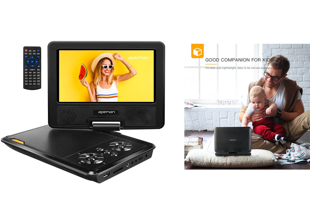 APEMAN 7.5'' Portable DVD Player with Swivel Screen Support Portable DVD Player