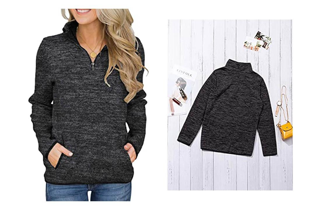 Aleumdr Women Casual Long Sleeve 1/4 Zipper