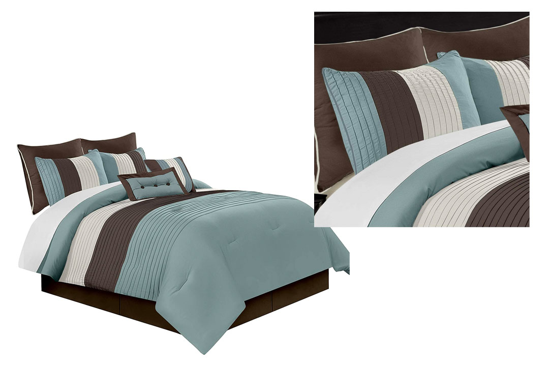 Chezmoi Collection 90 x 92-Inch 8-Piece Luxury Stripe Comforter Bed-in-a-Bag Set