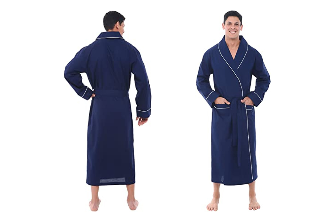Del Rossa Men's 100% Cotton Lightweight Woven Bathrobe Robe