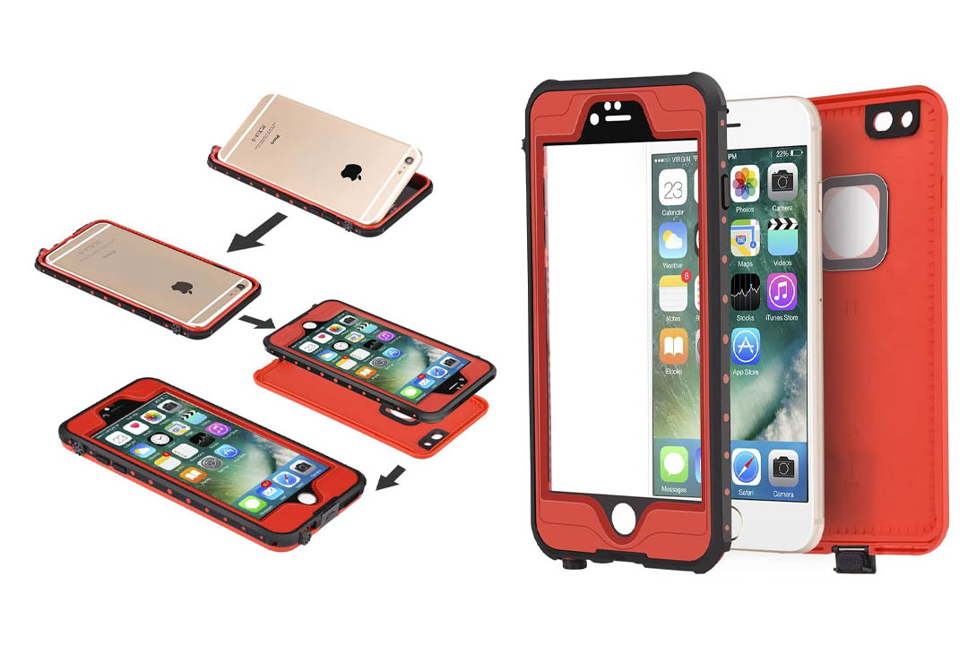 "ImpactStrong iPhone 6 Plus Waterproof Case [Fingerprint ID Compatible] Slim Full Body Protection for Apple iPhone 6 Plus & 6s Plus (5.5"") - Red"