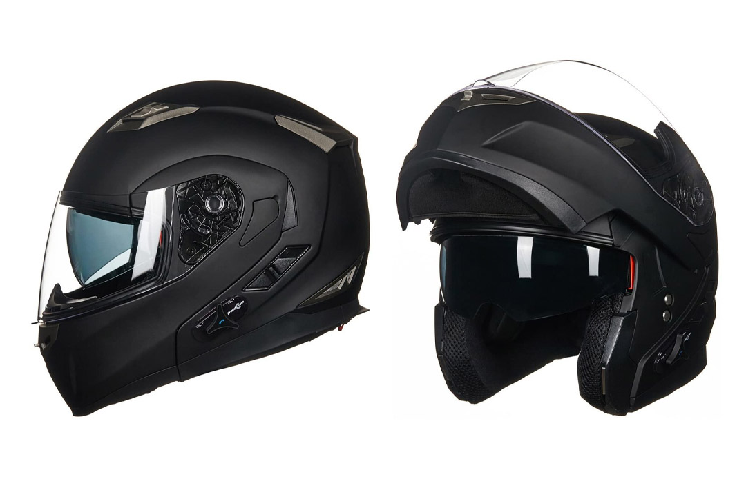 LM Bluetooth Integrated Modular Flip up Full Face Motorcycle Helmet