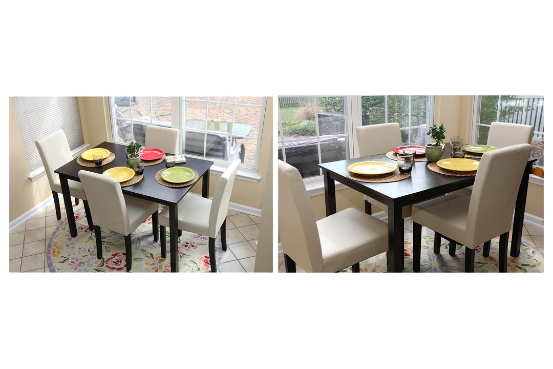 Life home 5 PC Ivory Leather 4 Person Table and Chairs Ivory Dining Dinette - Ivory Parson Chair