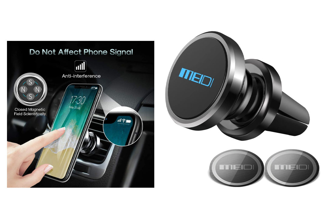 MEIDI Air Vent Phone Holder, Universal Magnetic Phone Car Mount 360 Rotation Cell Phone GPS Holder Compatible iPhone Samsung HTC and Mini Tablets (Black)