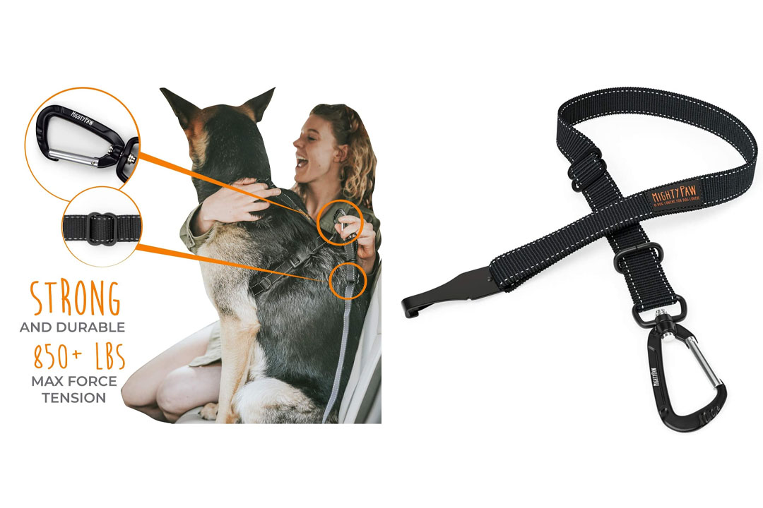 Mighty Paw Safety Belt, Dog Seat Belt, Heavy Duty Attachment, Carabiner