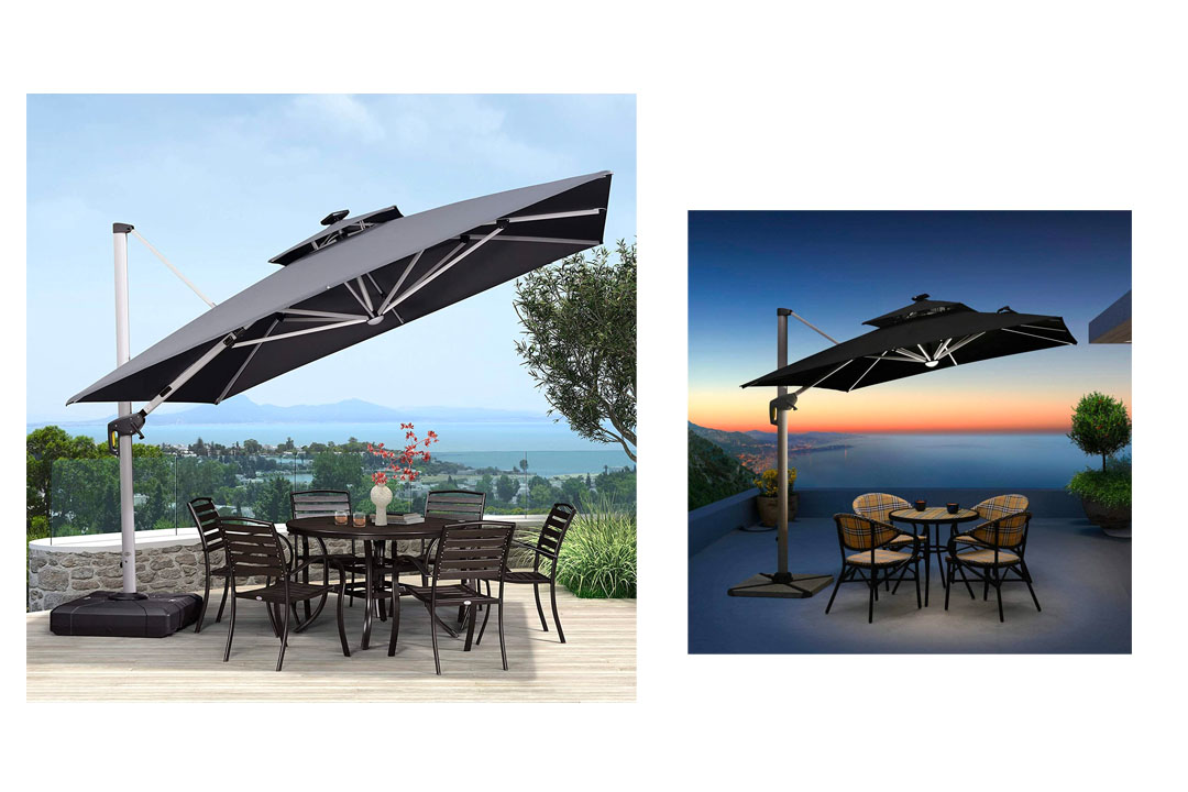 PURPLE LEAF 10 Feet Double Top Deluxe Solar Powered LED Square Patio Umbrella