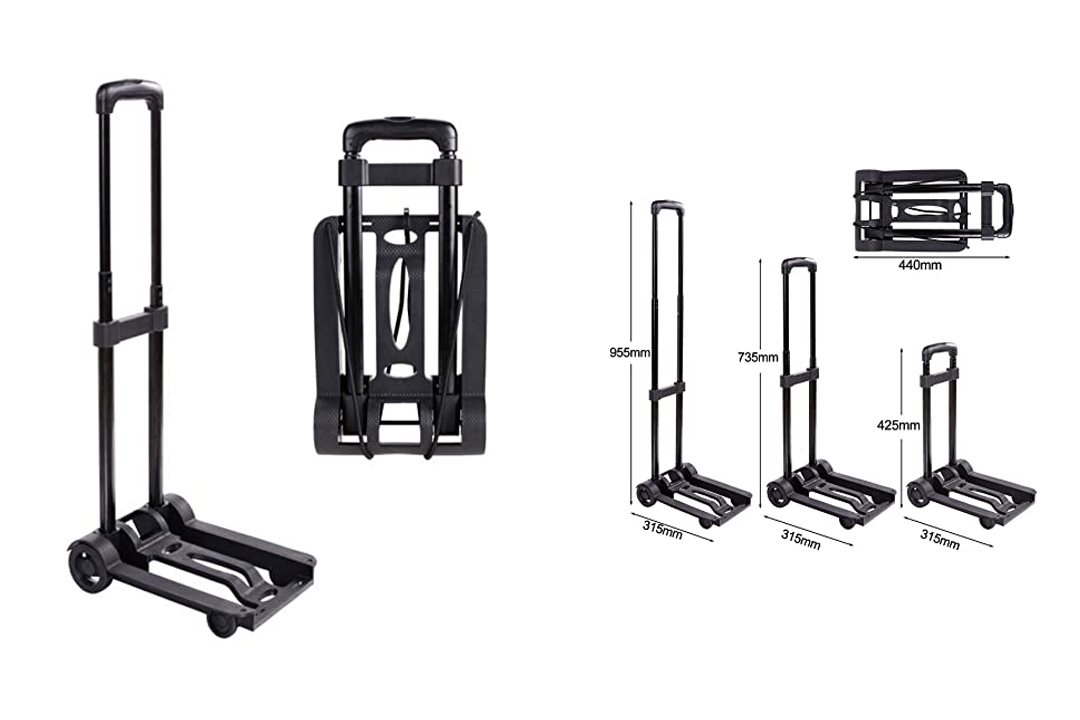 Portable Folding Hand Push Truck, Hand Collapsible Trolley for Luggage, Auto, Moving and Office