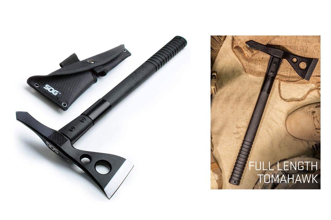 "SOG Tactical Tomahawk F01TN-CP - Hardcased Black Axe Head, GRN Handle, Nylon Sheath, 2.75"" Blade"