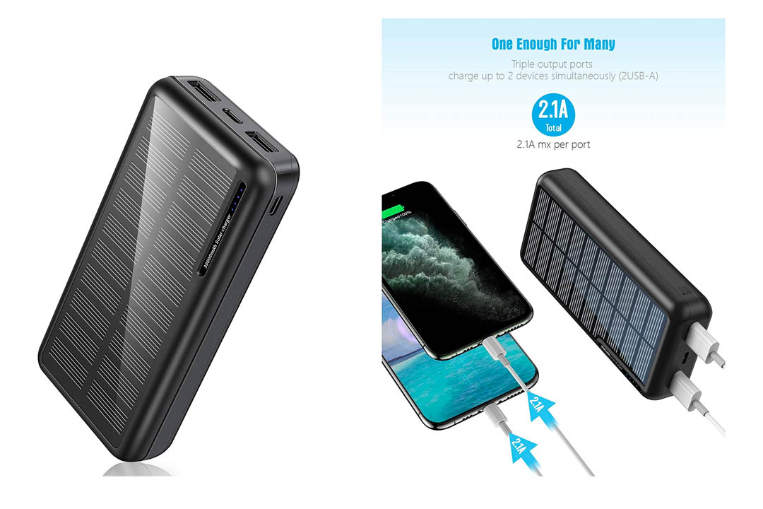 Solar Power Bank 30,000mAh, Minrise Portable Charger, Solar Charger Power Bank