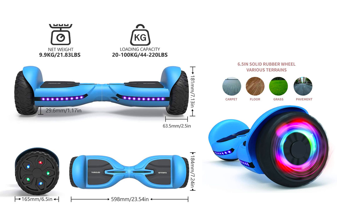 TOMOLOO Hoverboard for Kids and Adults, All-Terrain Off-Road Hover Board