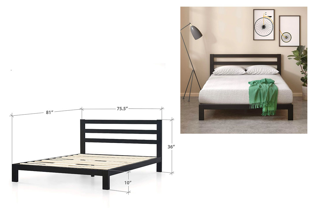 Zinus Modern Studio Platform 2000H Metal Bed Frame/Mattress Foundation with Headboard