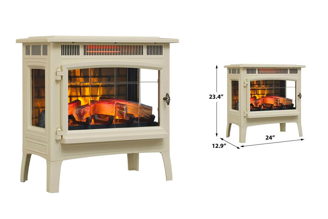 Duraflame 3D Infrared Electric Fireplace Stove with Remote Control - DFI-5010 (Cream)