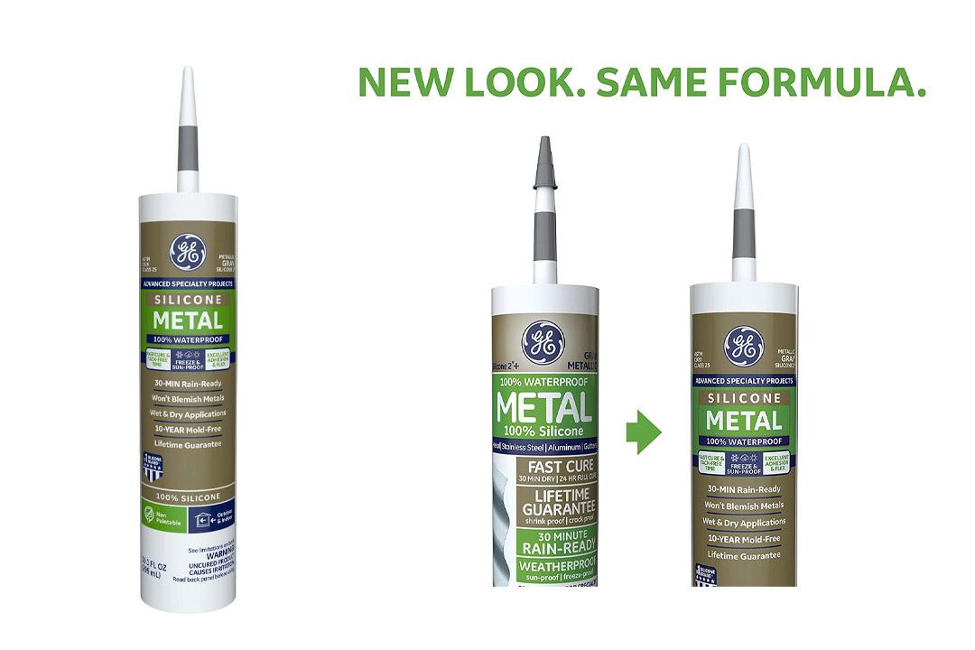 GE GE5050 Silicone 2+ Specialty Silicone Caulk 10.1 oz. Tube Metallic Gray