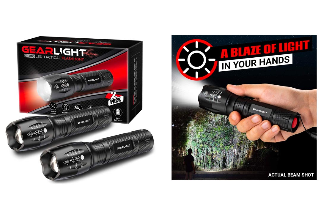 Gear Light LED Tactical Flashlight S1000 High Lumen, Zoomable, 5 Modes, Water Resistant, Handheld Light