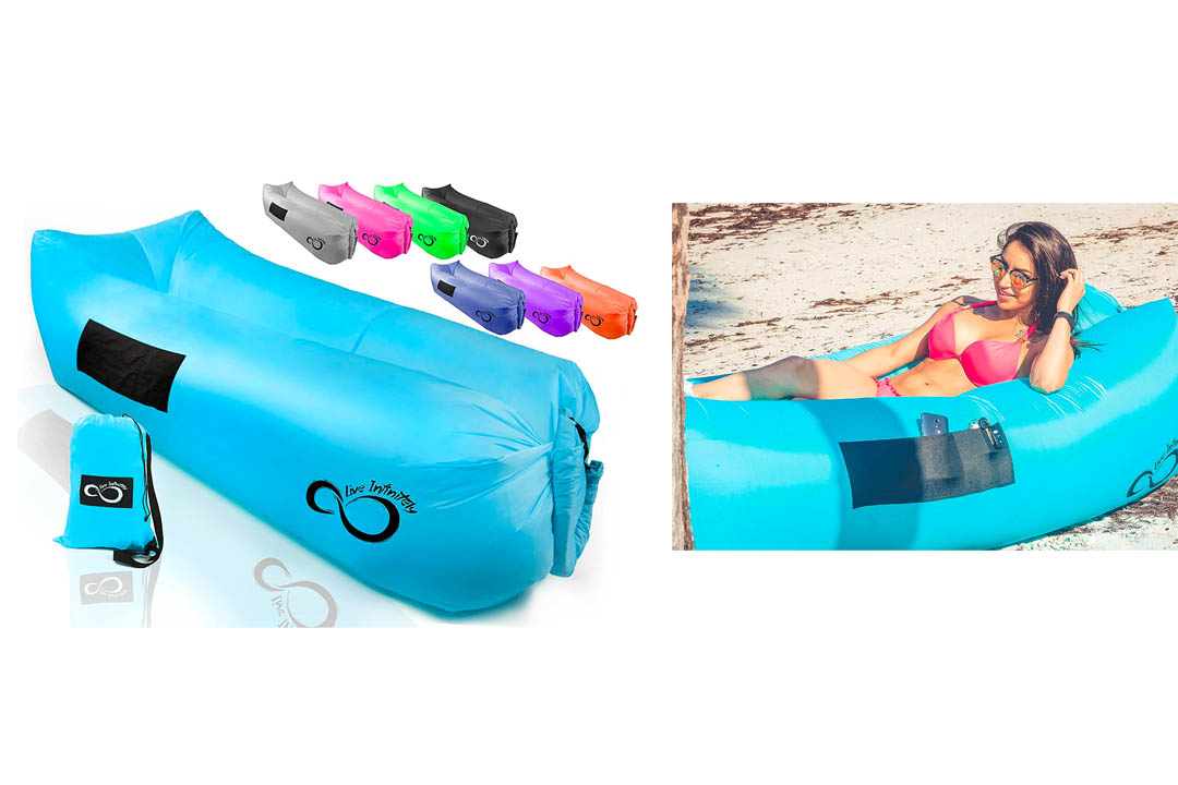 Inflatable Air Lounger Lounge Bag Chair -Headrest, 2 Pockets, 420D Ripstop, Securing Loop & Stake