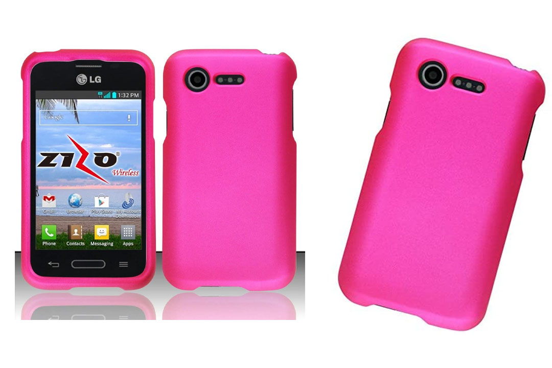 LG Optimus Fuel L34C Pink Rubberized Plastic Cover Snap