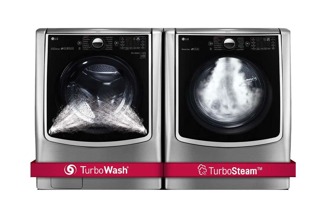"LG TwinWash Graphite Steel Front Load Laundry Pair with WM9000HVA 29"" Washer with and DLGX9001V 29"" Gas Dryer"