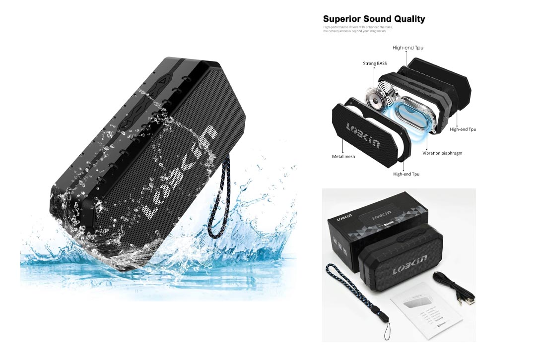 LOBKIN Waterproof Bluetooth Speaker, Portable Wireless Stereo Speaker