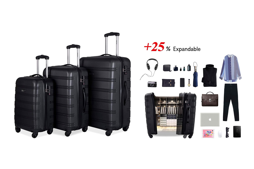Merax Luggage 3 Piece Set Expandable Spinner with TSA Lock Suitcase PC+ABS with 4 Wheels