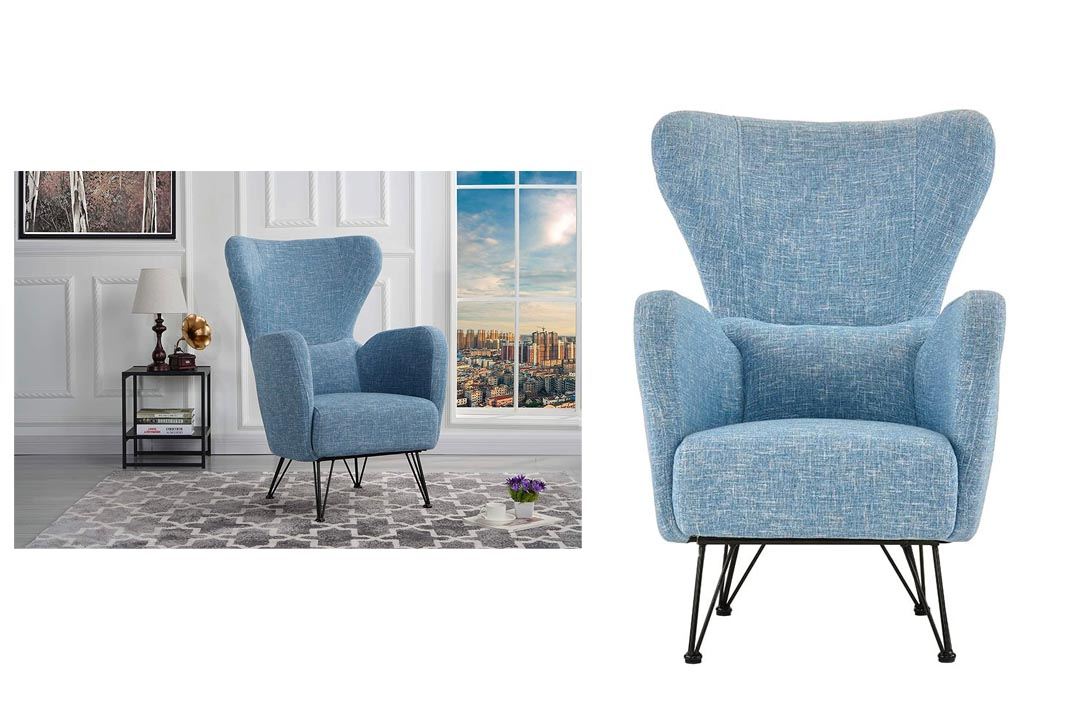 Mid-Century Modern Linen Fabric Accent Armchair with Shelter Style Living Room Chair (Blue)