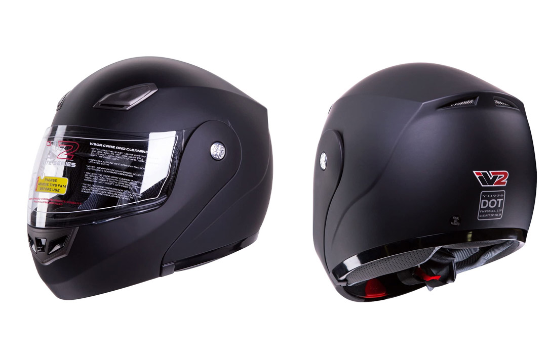 Modular Flip-up Motorcycle Helmet Matte Flat Black DOT #936