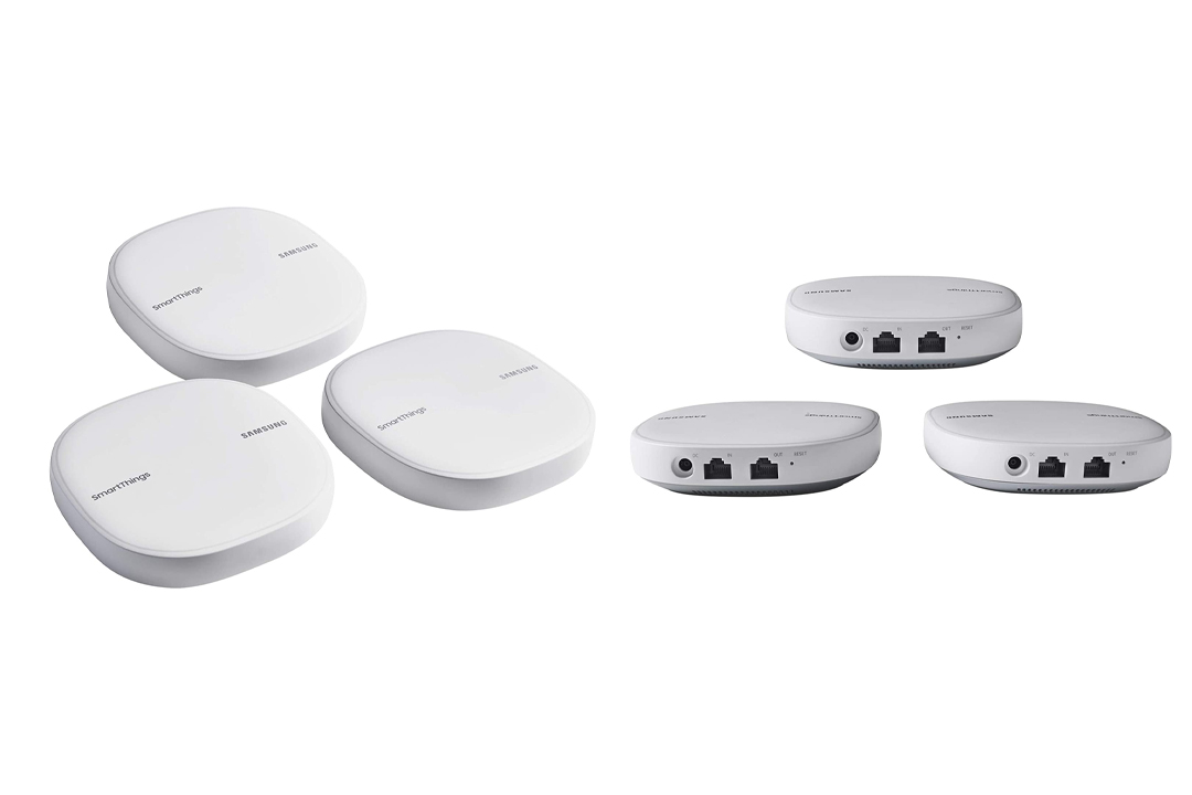 Samsung SmartThings Wifi Mesh Router Range Extender SmartThings Hub Functionality Whole-Home WiFi Coverage - Zigbee, Z-Wave, Cloud to Cloud Protocols - White (3 Pack)