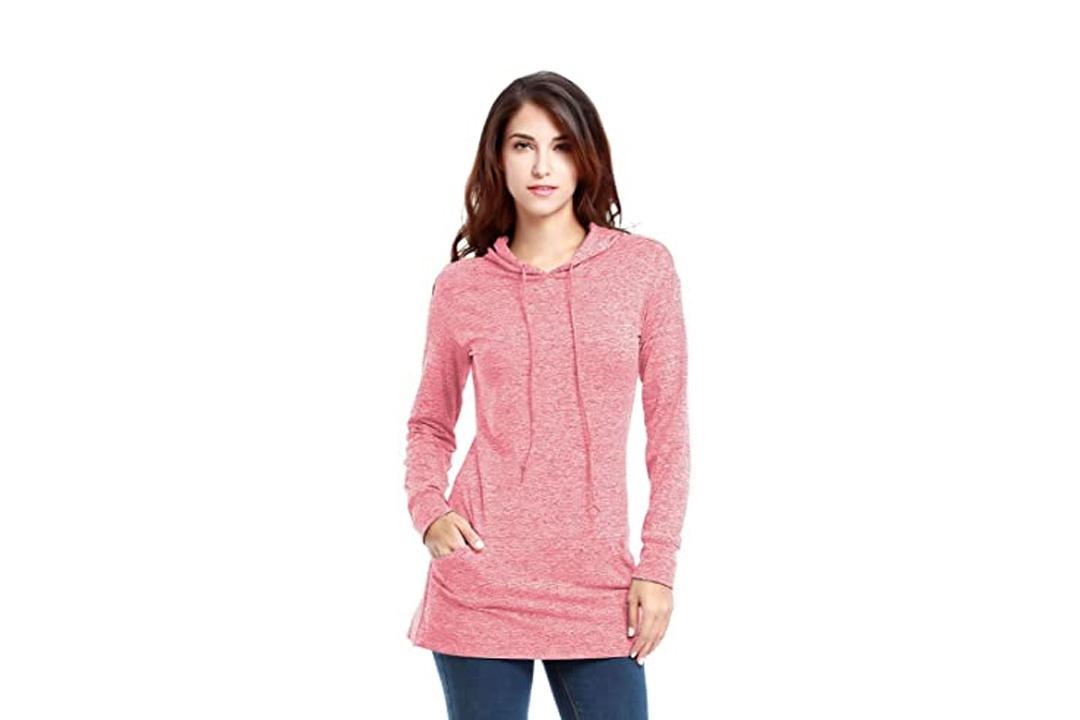VESSOS Women's Long Sleeve Crewneck Pocket Fleece Tunic Sweatshirt & Hoodie