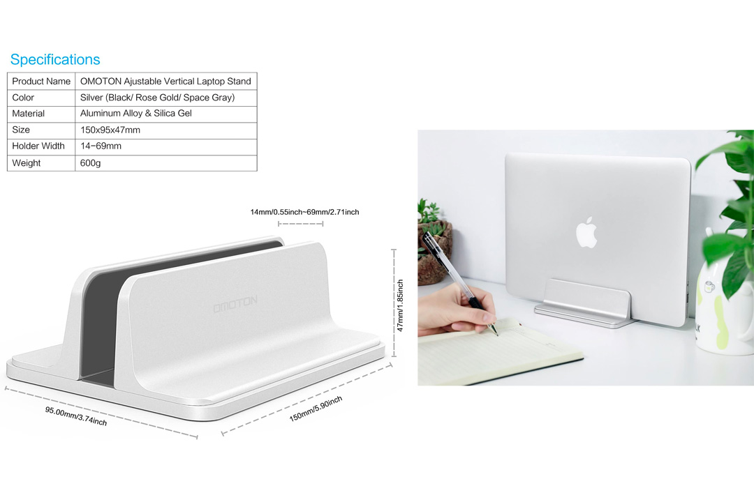 Vertical Laptop Stand [Adjustable Size], OMOTON Desktop Aluminum MacBook Stand