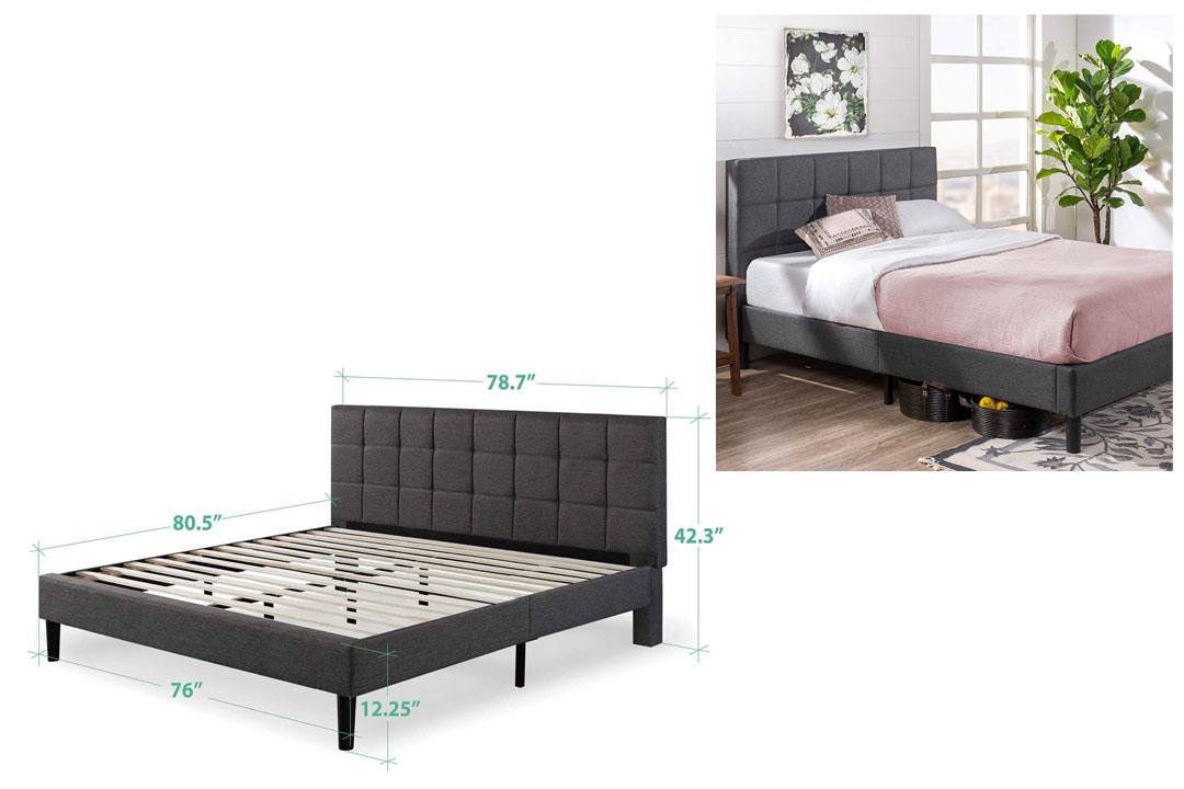 Zinus Upholstered Square Stitched Platform Bed with Wooden Slats